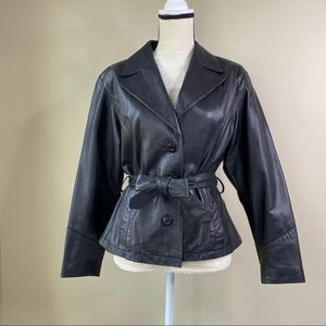 Wilsons Leather black belted leather jacket, S